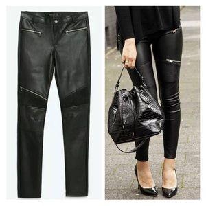 Zara Trafaluc Faux Leather Moto Legging Pants